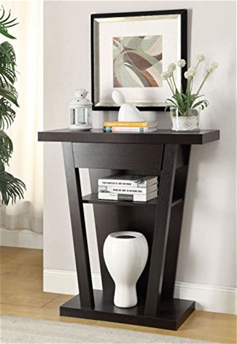 Cappuccino Finish Modern Console Sofa Entry Table with
