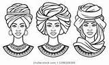 Zwarten Tulbanden Afrikaanse Verschillende Ritratti Africana Turbanti Antichi Metta Colore Zvereva sketch template