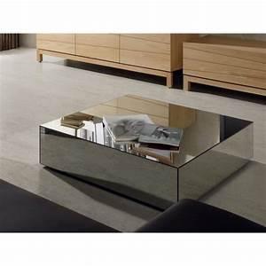Table Basse Miroir : table basse moderne carr e fa ade miroir tomeo achat ~ Melissatoandfro.com Idées de Décoration