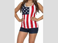 American Flag Women's Tank Top 327 USA Stars and Stripes