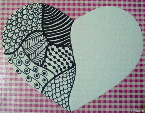 zentangle patterns   heart gift tag
