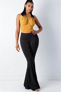 Bell Bottom Pants High Stretch Material Elasticized