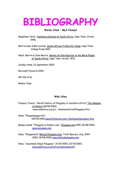 bibliography template view bibliography format