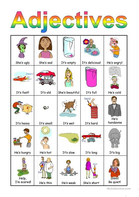 Adjectives For by Adjectives Bingo Set Worksheet Free Esl Projectable Worksheets Made By Teachers