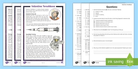 * New * Lks2 Valentina Tereshkova Differentiated Reading Comprehension