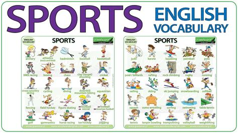 sports names  sports  english sport vocabulary