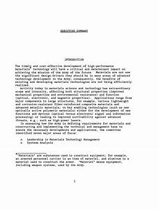 executive summary achieving leadership in materials With army exsum template