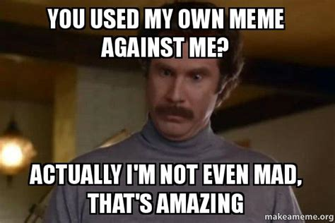 My Own Meme - you used my own meme against me actually i m not even mad that s amazing ron burgundy i am