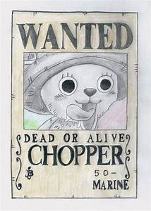 one piece wanted post, chopper by lea33 on DeviantArt