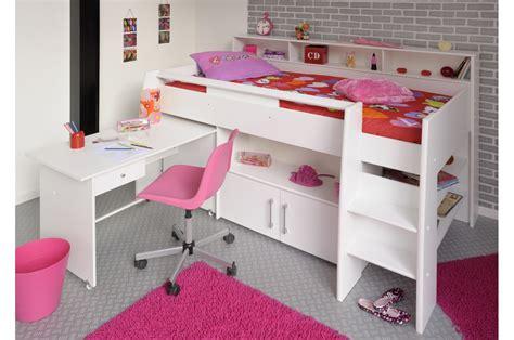 armoire chambre fille lit enfant blanc mi hauteur trendymobilier com
