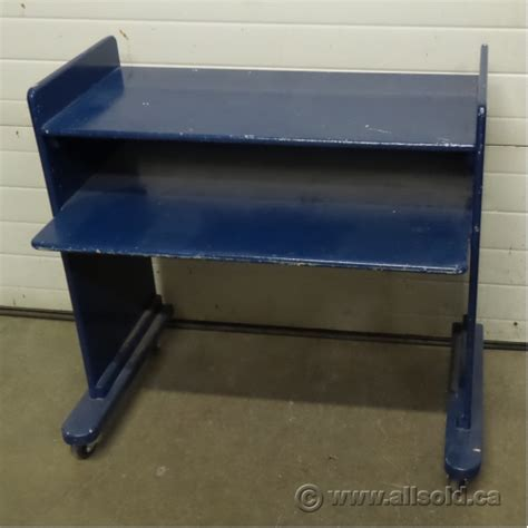 blue wooden 2 tier rolling student desk workstation