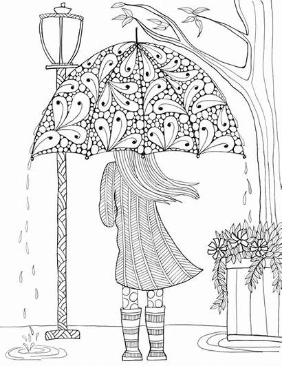 Coloring Pages Rain Adult Colouring Adults Umbrella
