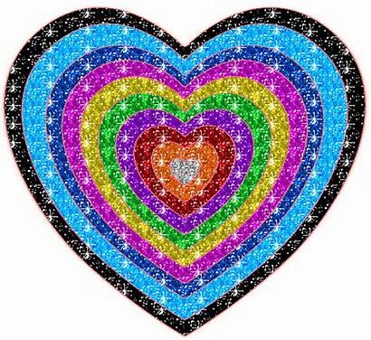 Glitter Rainbow Heart Hearts Animated Glittering Graphics