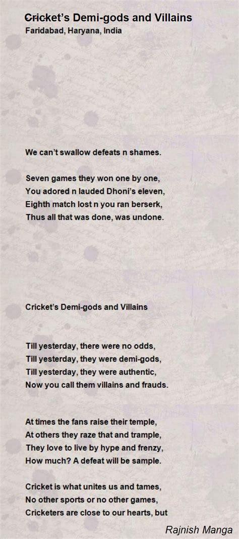 crickets demi gods  villains poem  rajnish manga