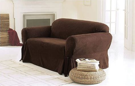 Brown Loveseat Cover by Chezmoi Collection Soft Micro Suede Solid Chocolate Brown