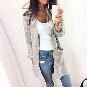 2016 Autumn Winter Fashion Women Long Sleeve loose knitting cardigan sweater Womens Knitted ...
