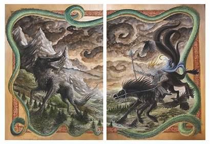 Ragnarok Odin Gods Sunima Norse Mythology Loki
