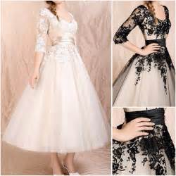 black sleeve wedding dresses china new chagne black lace bridal wedding gown ankle tea length 3 4 sleeve a line