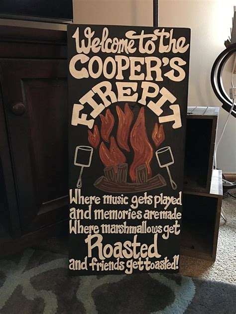 amazing woodmetal fire pit signs   deck  patio