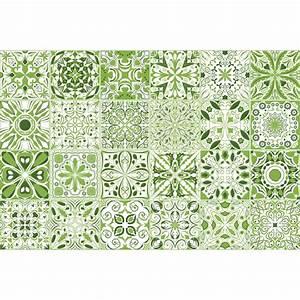 24 stickers carreaux de ciment vert lumiere art et With carreaux de ciment vert