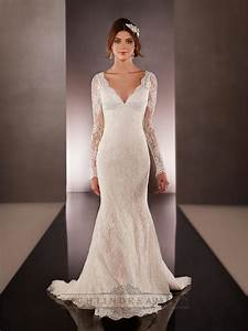 long illusion slleeves v neck lace wedding dresses with With v neck lace wedding dress