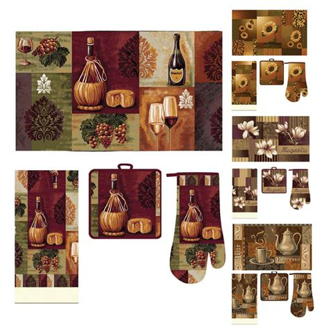 kitchen rug sets casual kitchen accessory printed mat towel oven mitt pot holder 4 pcs rug set ebay