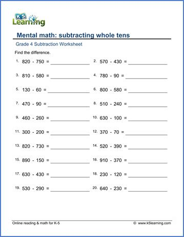 grade 4 math worksheets subtracting whole tens k5 learning