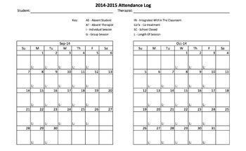 Slp Exle by Slp Attendance Log Notes Template By Erin The Slp Tpt