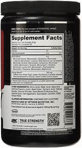 On Amino Energy Nutrition Label