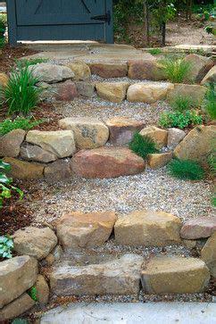 rock front step stone  pea gravel steps design ideas