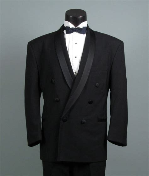 Vintage Mens Tuxedo Dinner Jacket 1980s PERRY ELLIS Black on