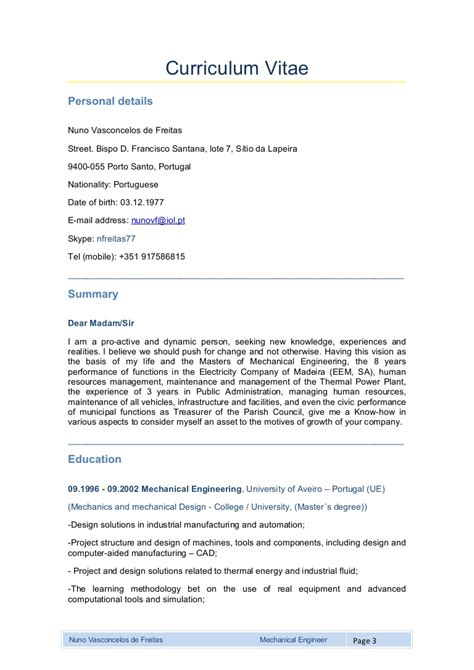 Curriculum Vitae by Mechanical Engineer Curriculum Vitae