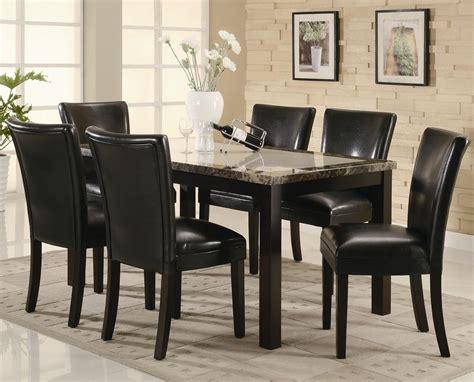 carter dark brown wood  marble dining table set steal