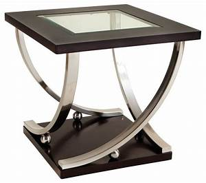 Standard Furniture Melrose Square Glass Top End Table in