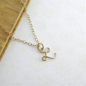 Letter l necklace 14k gold fill for Gold necklace with letter l