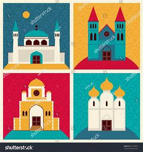 Network Illustration With Buildings And Elements  Mosque