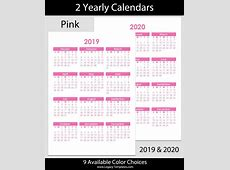 2019 & 2020 Yearly Calendar – A5 Legacy Templates