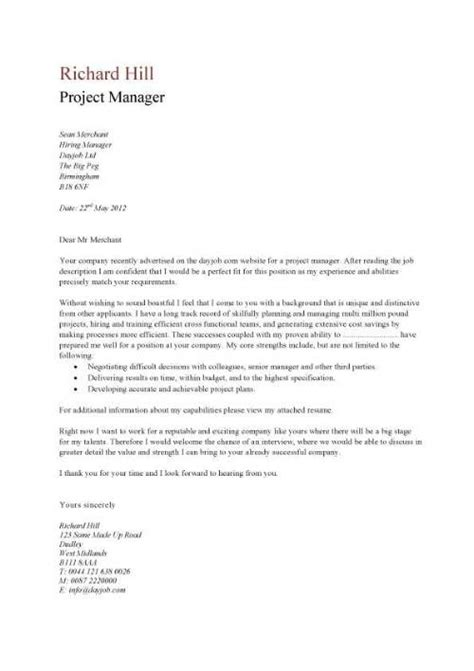 a simple project manager cover letter that is eye catching in design cover letter tips