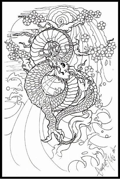 Deviantart Dragon Lineart Moon Coloring Japanese Pages