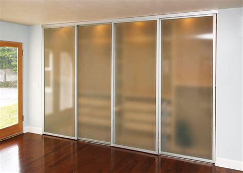 frosted glass sliding closet doors  silver frame