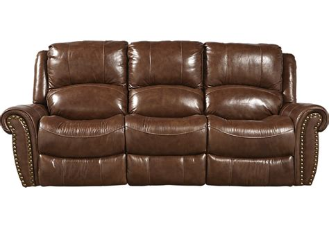 Abruzzo Brown Leather Power Reclining Sofa  Leather Sofas