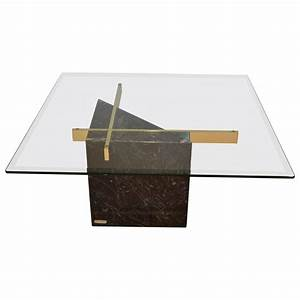 Black marquina marble base and glass top coffee table by for Stone base glass top coffee table