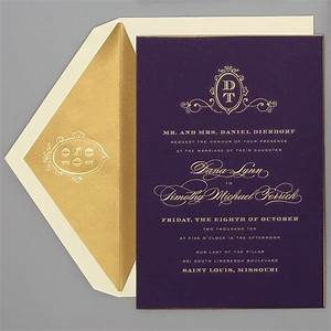 wedding invitations by location purple gold ballrooms With purple and gold wedding invitations set