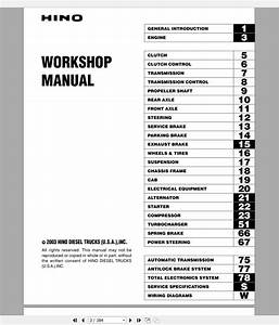 Hino Truck Workshop Manuals 2003 Cd