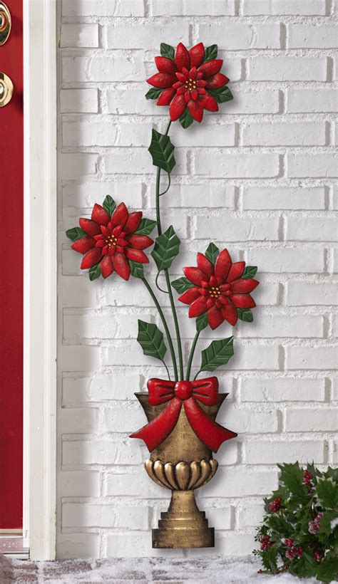 holiday poinsettia metal topiary wall decoration christmas