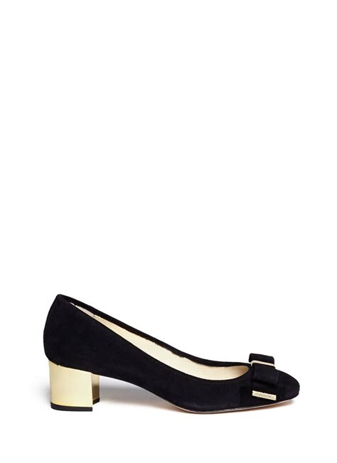 lyst michael kors kiera bow suede pumps  black