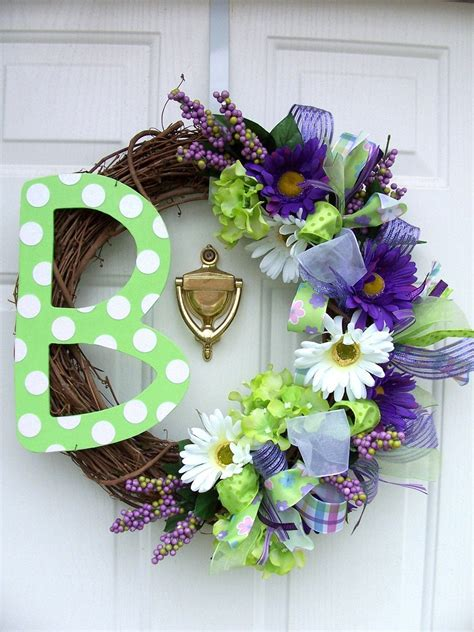 monogram initial letter spring wreath  flowers