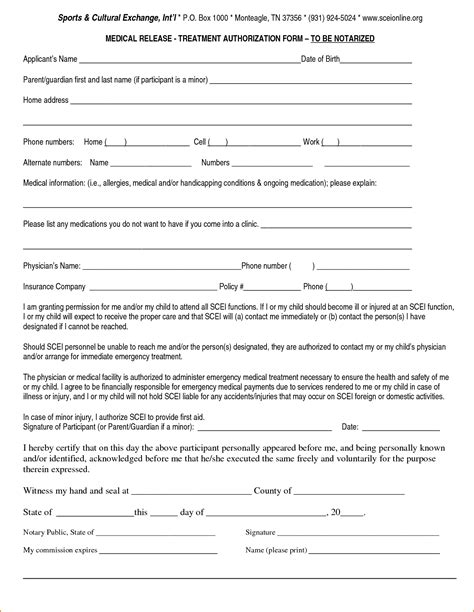 free printable medical consent form for grandparents medical release form for grandparents printable receipt