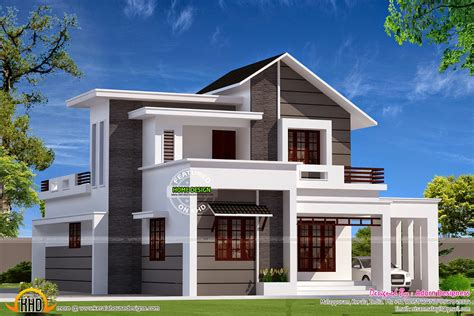 modern mix small double storied house kerala home design