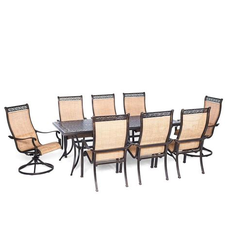 swivel patio dining set hanover manor 9 rectangular patio dining set with